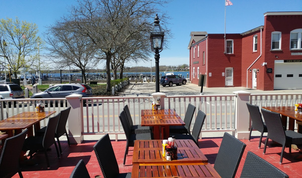 Outdoor waterfront dining at Aidan's